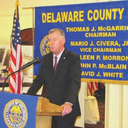 County Council Chairman Tom McGarrigle, a small business owner, delivers good news that Delaware County's economy is strong, according to unbiased economic forces on Wall Street.