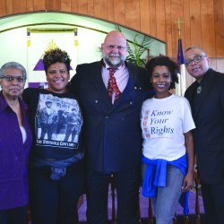 People partnering with Pastor Keith Collins (far right) to fight mass incarceration through advocacy, education and empowerment include (from left) attorney Carol Herring, Akiima Price, attorney Jonathan Altman and Joy Miller.