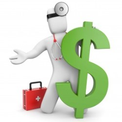 Doctor with large dollar sign