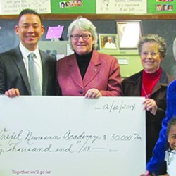 Present for the presentation of a $50,000 donation from Wells Fargo to Drexel Neumann Academy was Sinai Freeman and Alana Carr, DNA pre-kindergarten students; Aldustus Jordan, senior vice president and community affairs manager, Wells Fargo Government and Community Relations; Robin Choi, vice president and area president, Wells Fargo Bank, N.A.; Sr. Margaret Gannon, OSF, president of  DNA;, Sr. Nora M. Nash, OSF, director, Corporate and Social Responsibility Sisters of St.Francis of Philadelphia; and Sr. Cathy McGowan, SSJ, principal of DNA.