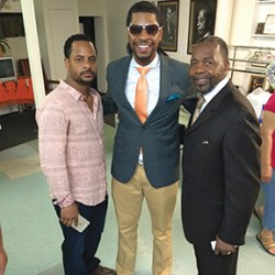 Democratic mayoral candidate Thaddeus Kirkland (right) is congratulated by his son-in-law Ron Starr (left), and longtime protégé Fred Green.