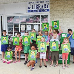Having a personal minion was the result for 16 children participating in a special art class at the Upper Chichester Library. Excited to take home their rendition of the movie character was (back row, from left) Mateo Torres, Sarah Trautz, Kharli Foley, J.C.Trautz,Madelynn Koronkiewicz, Riley O'Donnell, Marie and Betsy Penrose and Alex Torres. (In front, from left is) Kylie Becker, Charlotte and David Koronkiewicz, and Emily Crowding.