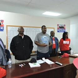 Unsuccessful Chester-Upland School Board candidate Jay Harrison, defeated Council candidate Calvin Williams, Chester GOP Chairman Shep Garner, former Mayor Wendell N. Butler Jr. and campaign staffer Adora Purnell address the media and volunteers.