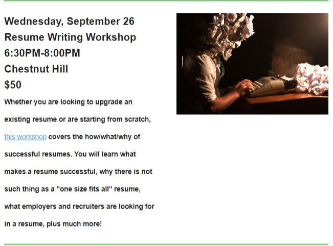 Resume Writing Workshop at Kismet - Chestnut Hill