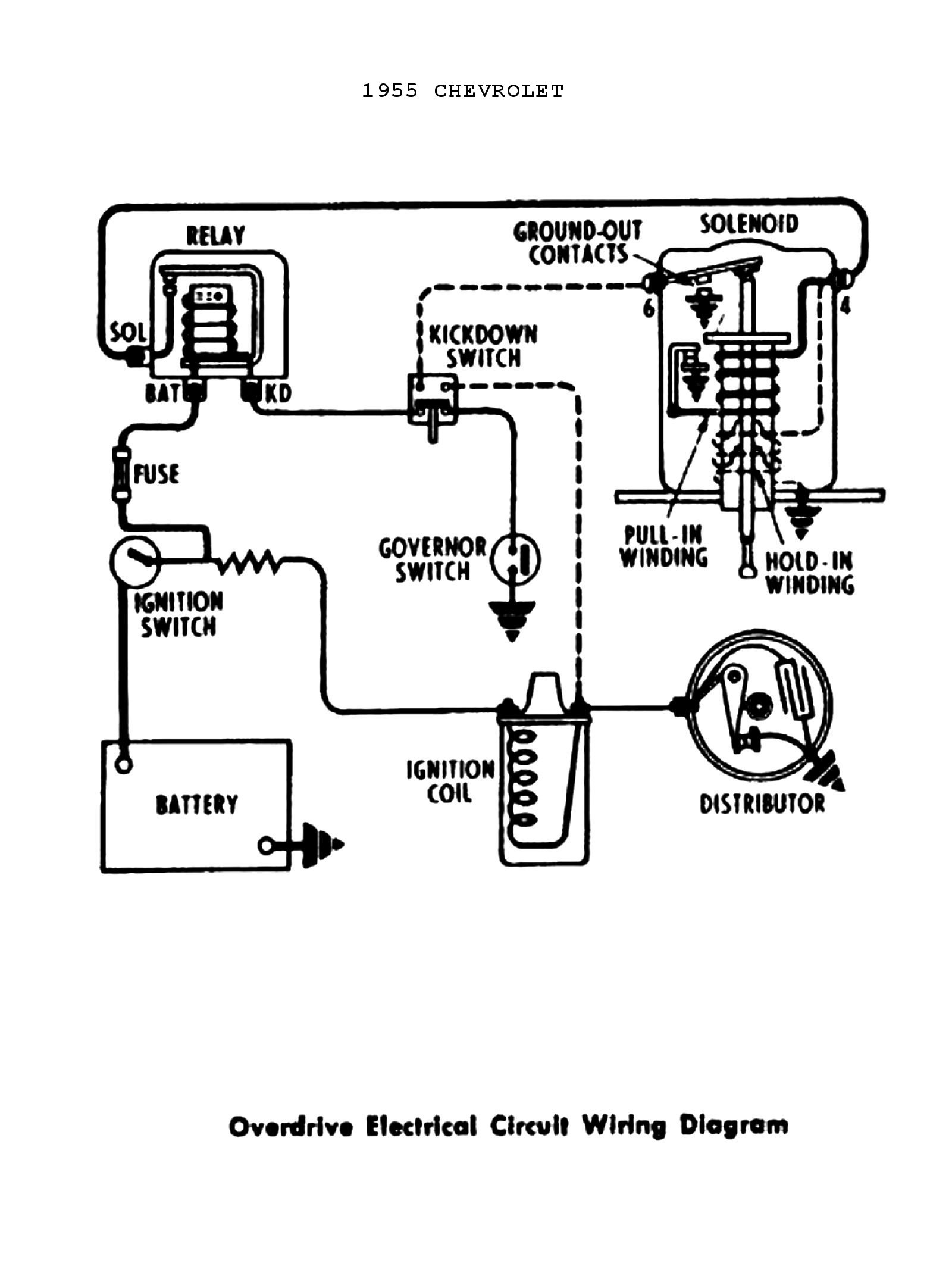 5 speed overdrive circuit wiring diagram for 1955 chevrolet passenger car