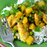 Chicken with Potatoes, Peas & Coconut Curry Sauce