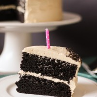 Chocolate Cake with Peanut Butter Buttercream Frosting {Chez CateyLou's 1st Birthday}
