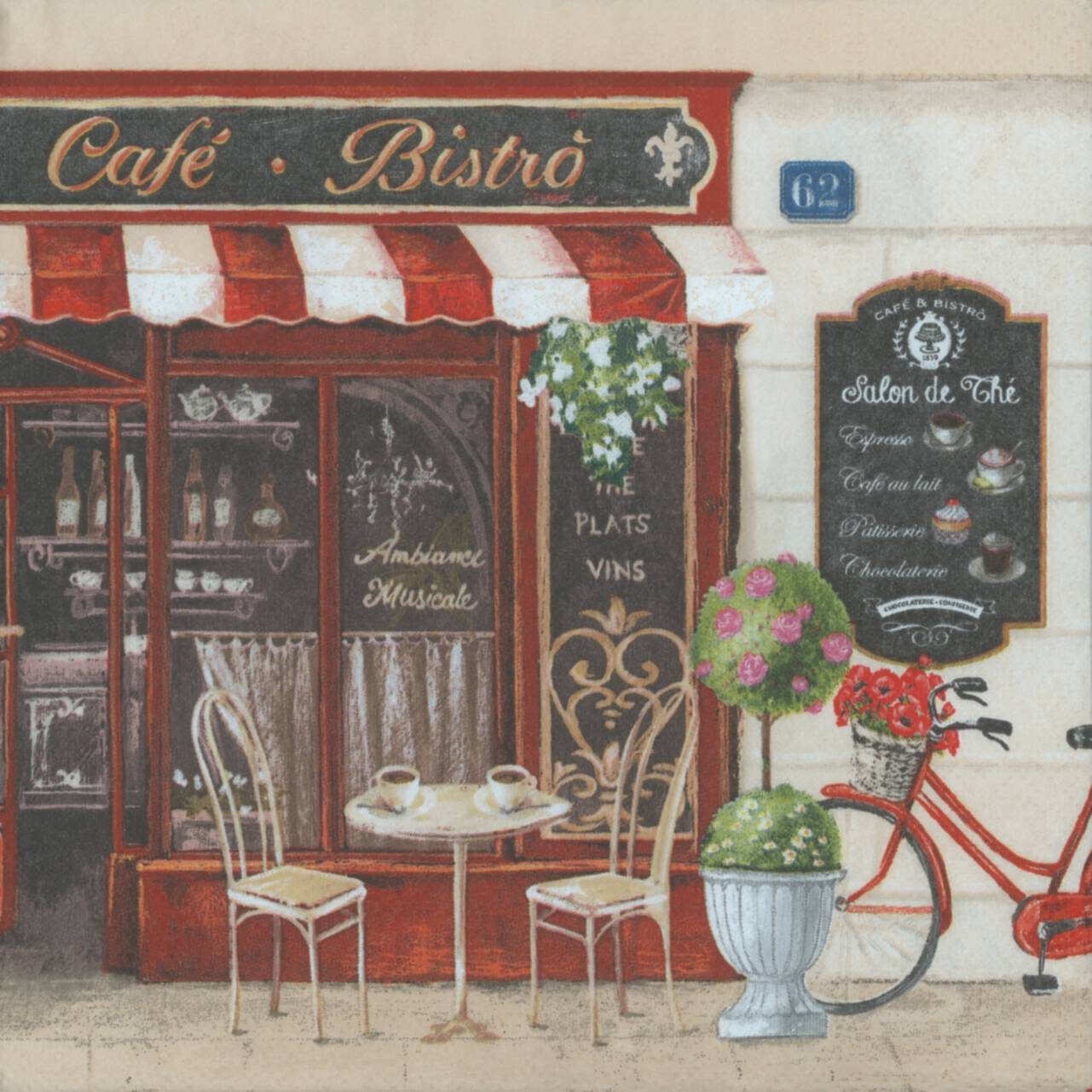 Salon De The A Paris Decoupage Paper Napkins Of Paris Bistro French Cafe And A Bicycle