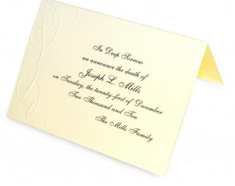 Death Announcement Cards Free. family photo reunion funeral card ...
