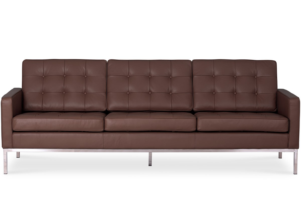 Florence Knoll Sessel Florence Knoll Sofa 3 Seater Leather Platinum Replica