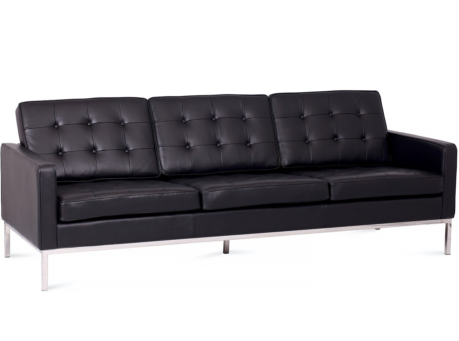 Knoll Couch Florence Knoll Sofa 3 Seater Leather Platinum Replica