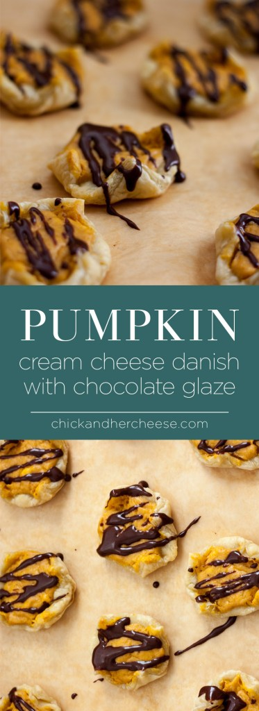 Pumpkin Cream Cheese Danishes with Chocolate glaze - Best way to enjoy pumpkin and cheese together in a pastry you can eat at any time of the day! | chickandhercheese.com