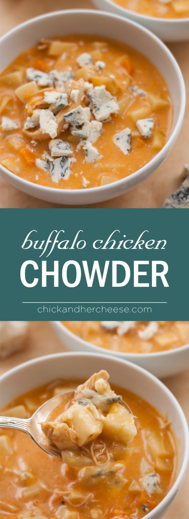 Buffalo Chicken Chowder with Blue Cheese Crumbles - Warm up this fall and enjoy this creamy and heathy version of your favorite football appetizer with only 350 calories! | Chickandhercheese.com