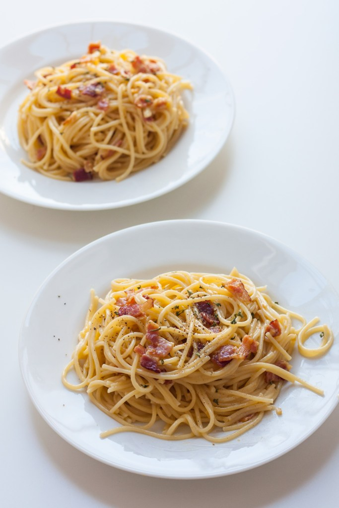Spaghetti alla Carbonara for Two - The perfect meal to make for someone special, it tastes fancy but comes together in 20 minutes or less!