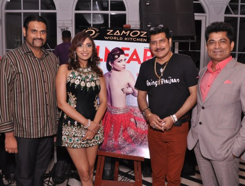 Restrauntear Vidur Kanodia, Actress Puja Misrra, Singer Shankar Sawhney and Entrepreneur Pawan Chawla at the unveiling of cover of a renowned bollywood magazine