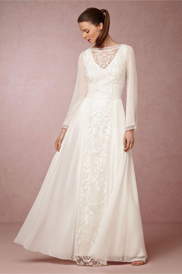 long sleeve wedding dresses sleeved wedding dresses Tadashi Shoji Boho Wedding Dress with Long Sleeves