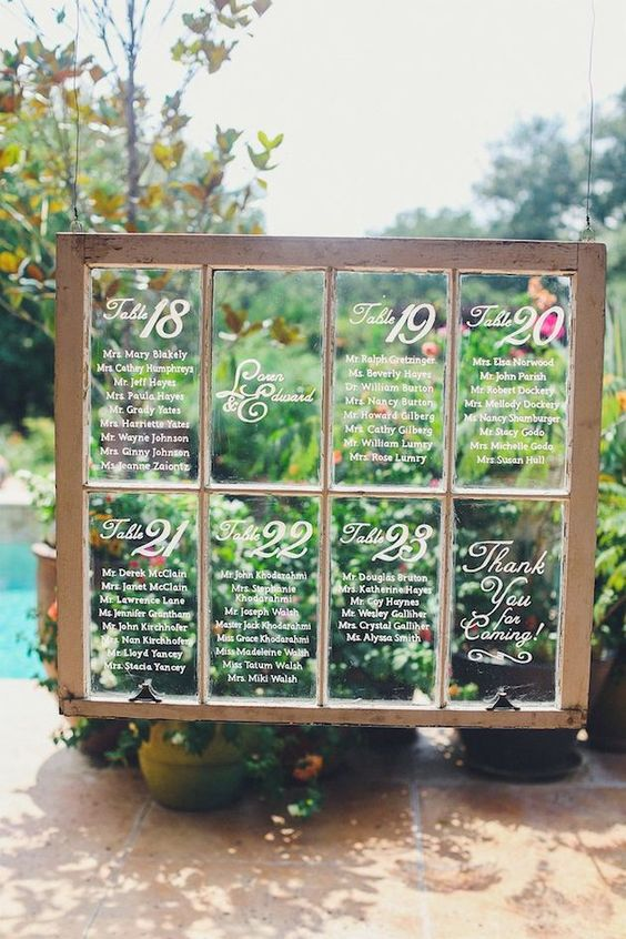Window Wedding Seating Chart - Chic Vintage Brides  Chic Vintage Brides