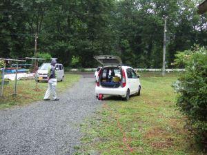 ガンマ線イメージングカメラでの撮影。車の内部から民家を撮影。