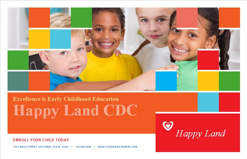 Child Care Postcard Template 6 - Child Care Owner - postcard collage template