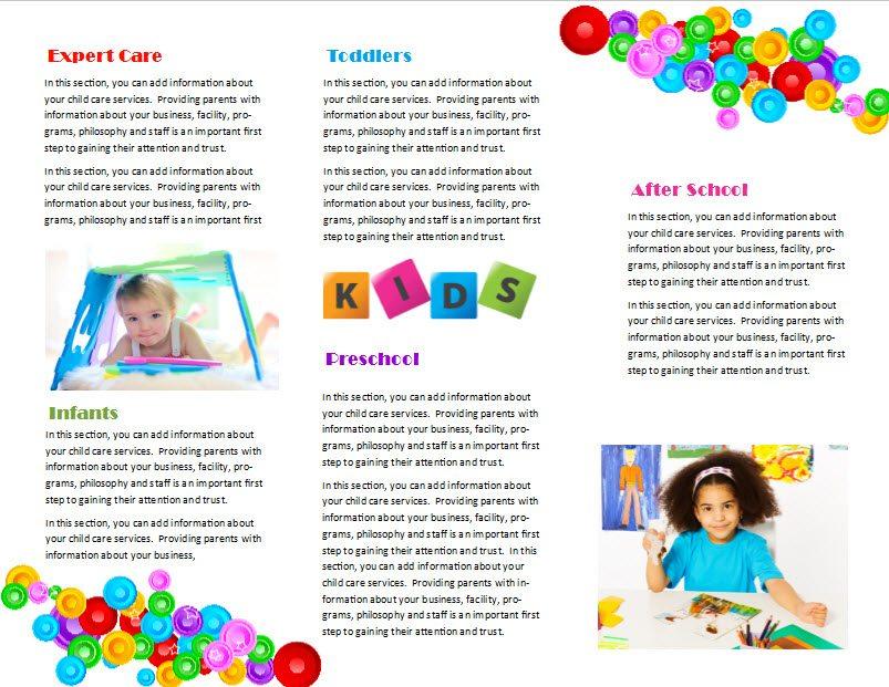 Free child care business plan template - sample preschool brochure