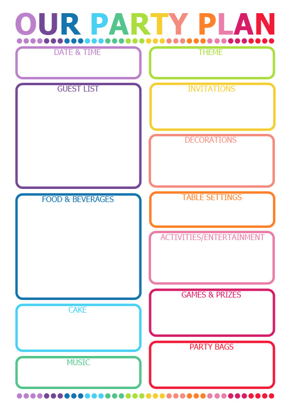 How to Plan a Party Printable Planner