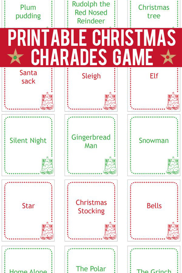 Christmas Charades Cards Printable Game Cards to Print-and-Play