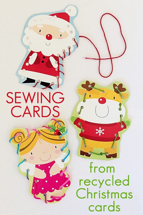 Sewing Cards from Recycled Greeting Cards