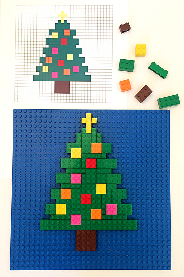 Lego Mosaics for Kids 3 Printable Christmas Building Challenges