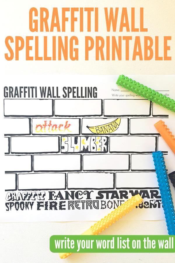 Spelling Activities Graffiti Wall Free Spelling Printable