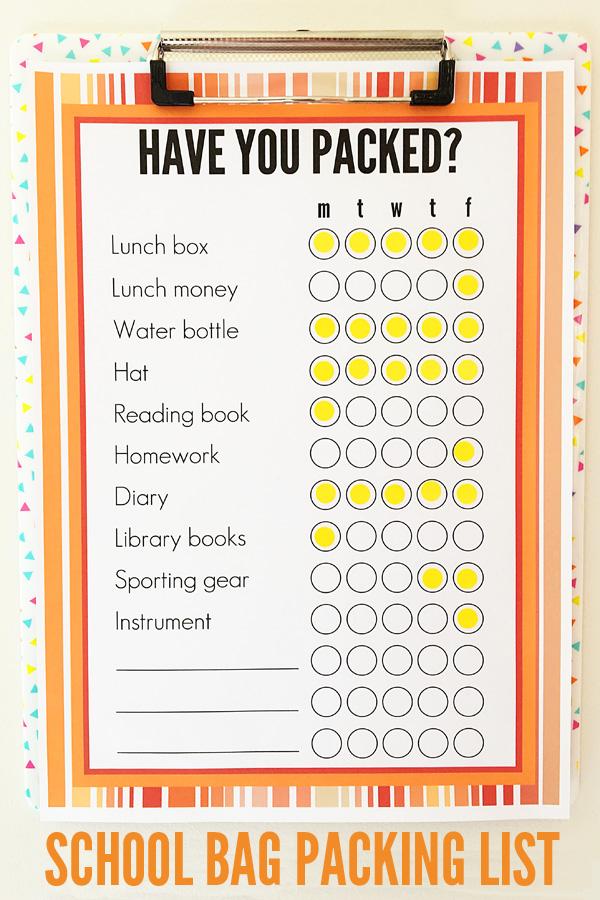 Back to School Printable School Bag Packing List - packing list