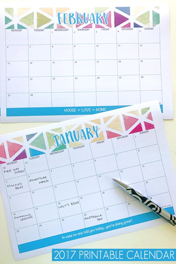 2017 Blank Calendar Printable