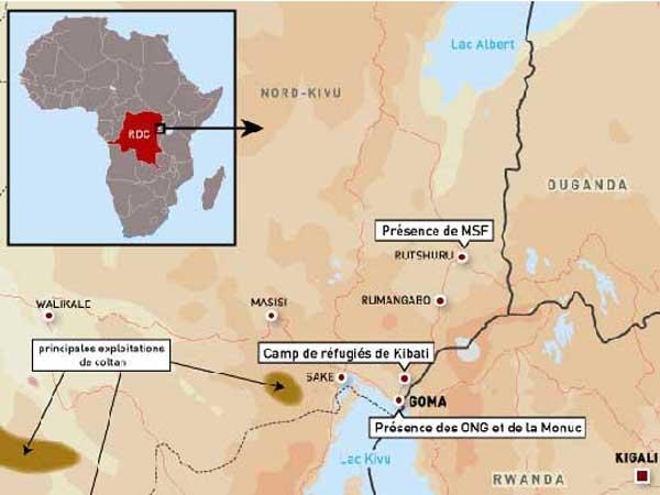 Carte de l'Est de la RDC