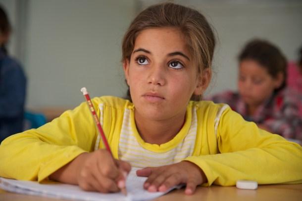 Girl student in school in Za'atari.