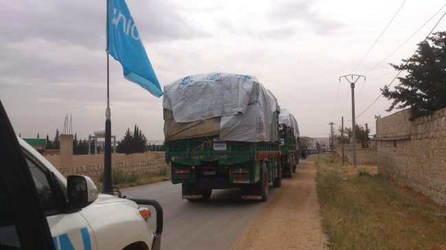 The humanitarian supply convoy heads to the village of Zahra in Rural Aleppo. ©UNICEF/Syria-2014/Nizam