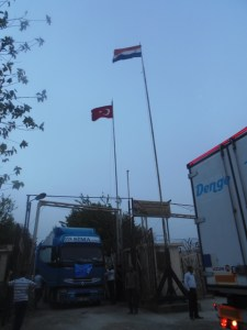 A UNICEF truck – one of a number twelve trucks carrying education supplies for 100,000 children, in addition to other vital supplies – enter Syria via the Nusaybin crossing near Qamishly. ©UNICEF/Syria-2014/Shekhi