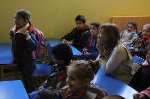 UNICEF representative in Syria, Hanaa Singer attends a class with second grade children at Akrama Al Muhdatha School. On 1 October 2014 at noon, a double bombing incident rocked a school neighborhood of Homs,  leading to mass casualties and injuries. The explosions occurred at the time when students were breaking for the day. Thirty children have been among the 50 killed in the incident. Over 2,500 students study in the two schools. ©UNICEF/Syria-2014/Rashidi