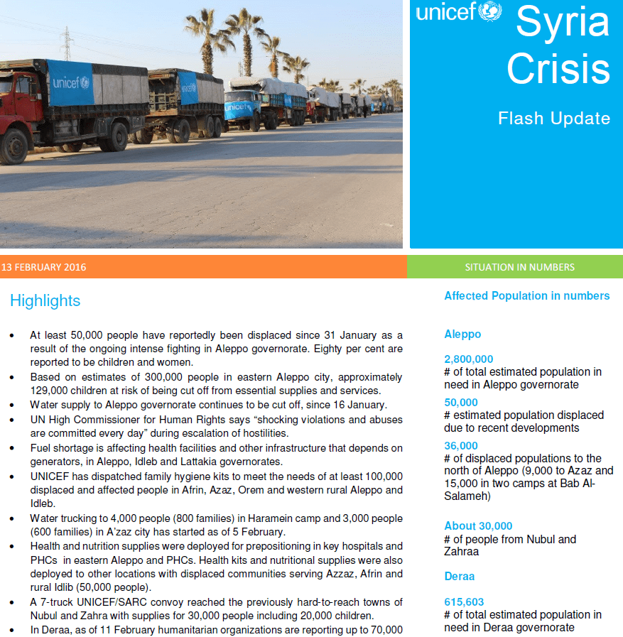 Syria Crisis Flash Update Feb 2016