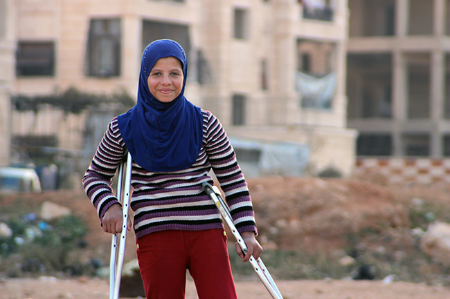© UNICEF Syrian Arab Republic/2016/Al Issa Saja, 12, fled the fighting in Aleppo with her family, and they are now looking for temporary shelter. She lost her four best friends in a bomb attack over two years ago. She also lost her leg in the attack.