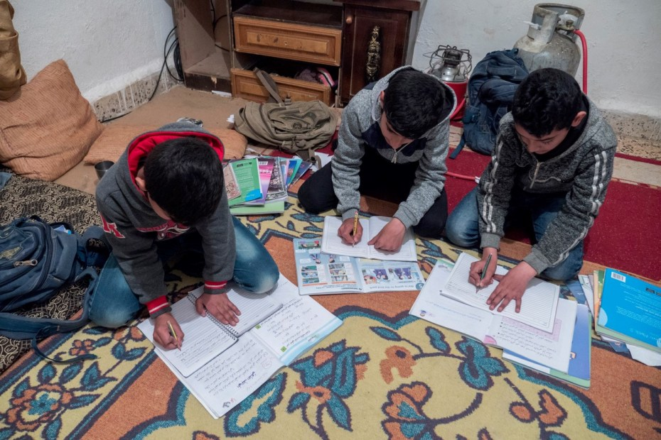Haider (left) Louay (centre) Nizar (right) are now back in school after fleeing eastern Aleppo with thanks to UNICEF supported Makani centre  UNICEF/2016/Sebastian Rich