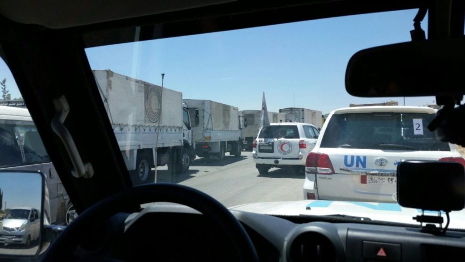 UNICEF/Andreas Knapp. On 30 July 2017, a joint UN/Syrian Arab Red Crescent humanitarian convoy delivered aid for the first time to Al-Nashabiyeh town in the besieged east Ghouta.