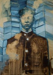 'Portrait of a blue man' by Shane Berkery at the Chimera Gallery, Mullingar , Co Westmeath, Ireland