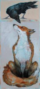 'Fox and Crow' by SylviaParkinson Brown at the Chimera Gallery , Mullingar , County Westmeath, Ireland