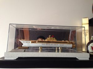 Bottle of Moutai liquor in the shape of China's aircraft carrier.