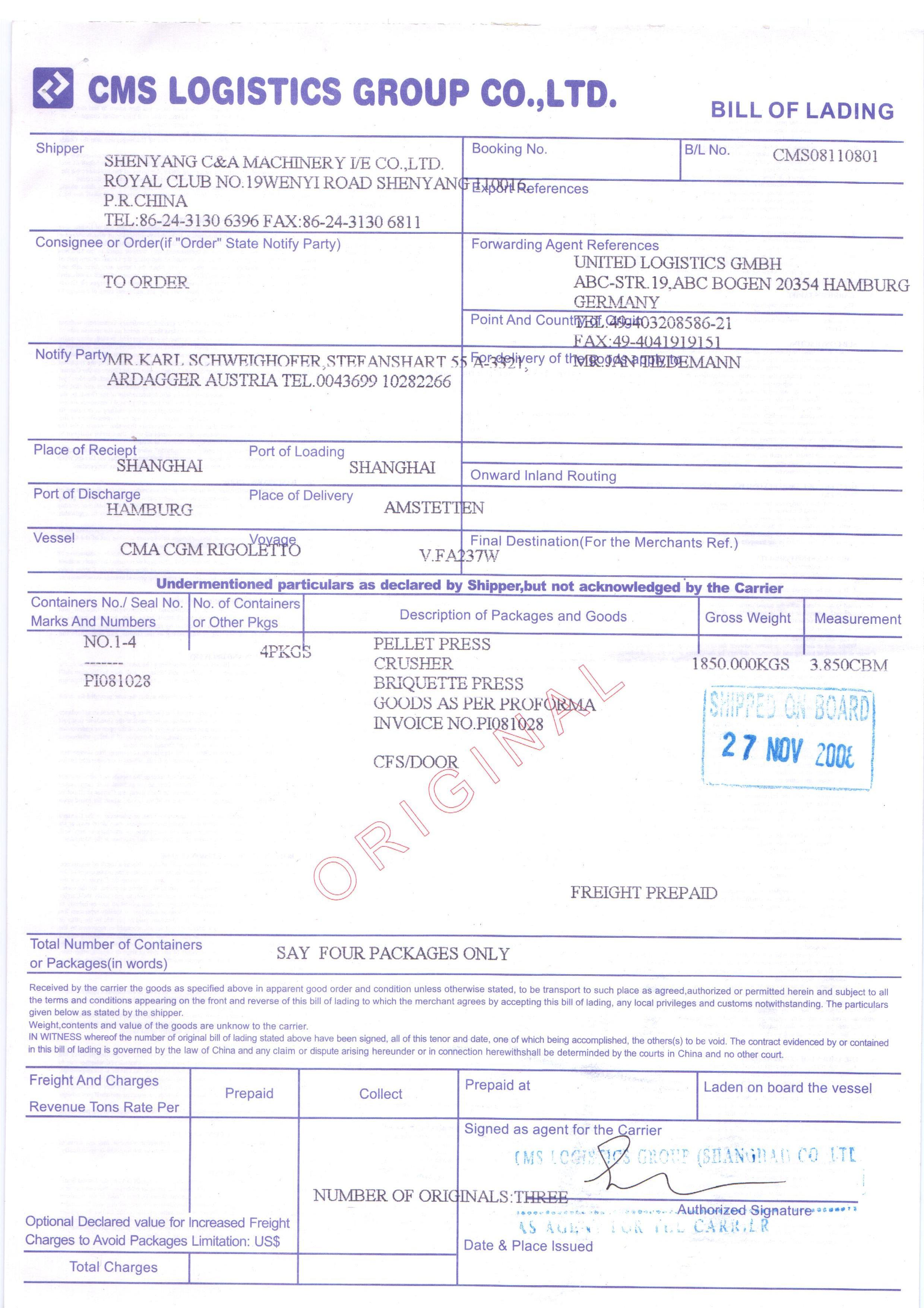 Bill Of Lading Blank Template – Sample Bill of Lading Form