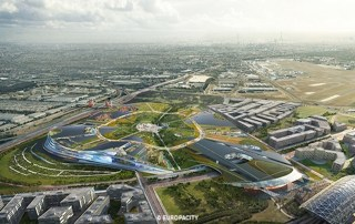 A rendering of an aerial view of EuropaCity, the planned Wanda