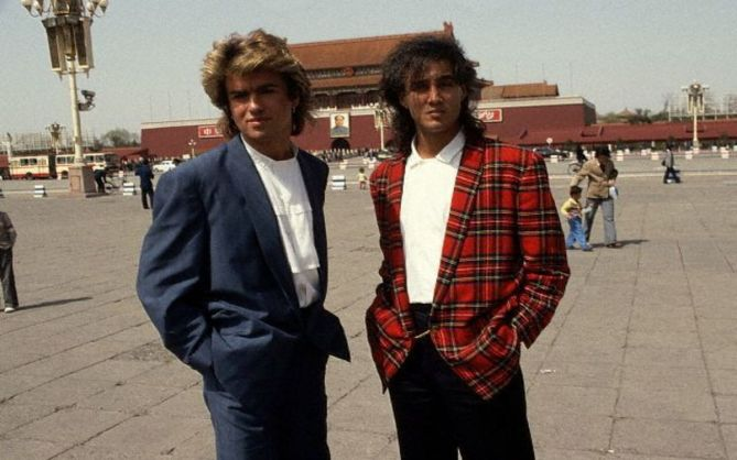 George Michael and Andrew Ridgeley, members of the English group WHAM!, visit the Forbidden City. April 1985 Beijing, China