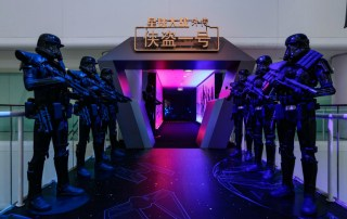 Imperial Stormtroopers guard the entrance to the Beijing premiere of Rogue One: A Star Wars Story (Courtesy Mtime)