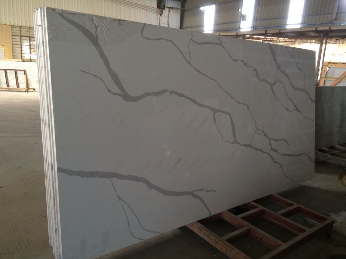 Wholesale Solid Surface Countertops Calacatta Composite Solid Surface Quartz Bathroom
