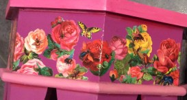 Insect and roses Decoupage Table Suzanne Forbes 2016