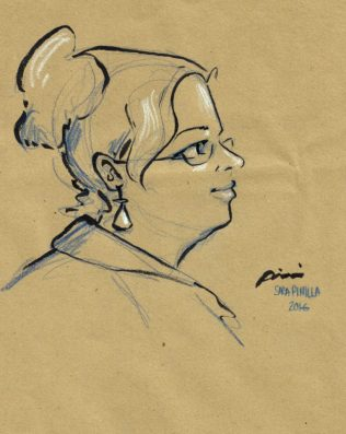 drawing of Suzanne Forbes by Sara Pinilla Aug 20 2016